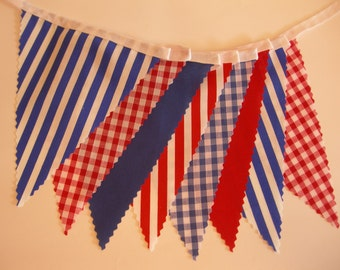 5 Metres Long - Bunting Nautical Style Red White Blue Beach Seaside Party on Tape