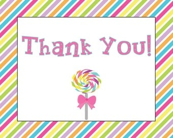 Lollipop Candyland Thank You Notecard