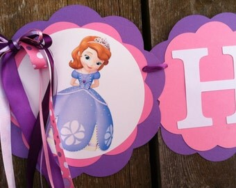 Sofia the first birthday Banner Sophia the first birthday banner Sofia birthday party Sophia birthday party