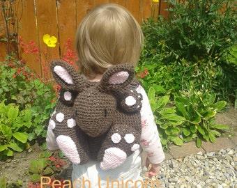 Bunny Rabbit Kid's Backpack / Pyjama Case Toy Crochet PATTERN by Peach Unicorn