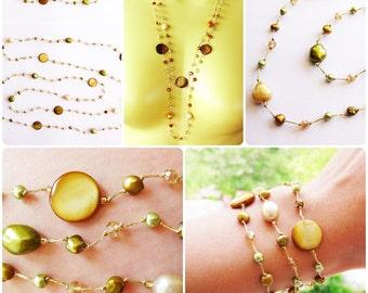 Jewelry Set, Necklace and Bracelet Set - Pearl Handmade Fashion Jewelry, Adjustable, Thailand Handmade. JS4001-GO