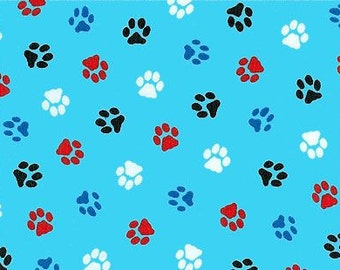 SALE - Half Yard of Fabric Material Doggy Dog Paw Print Mischief Sky Blue