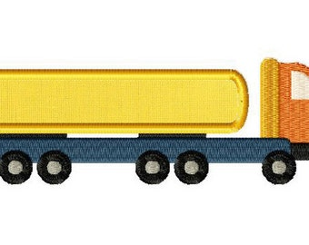 INSTANT DOWNLOAD Construction Semi Truck Machine Embroidery Design Includes Both Applique and Filled Stitch