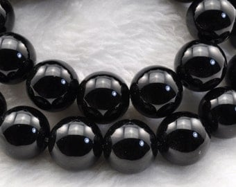 Black Onyx smooth Round beads 12mm,33 pcs