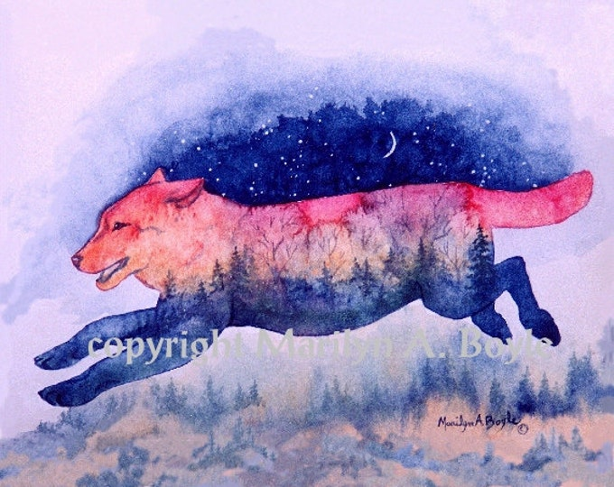 PRINT OF WOLVES - From the Spirit of the Wilderness Series, wolf, running, sunset, nature, wilderness, wall art, wildlife,