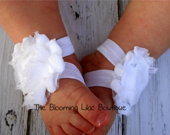 White Baby Barefoot Sandals - Newborn Sandals - Baby Shoes - Photography Prop - Baptism Barefoot Sandals - Preemie Sandals