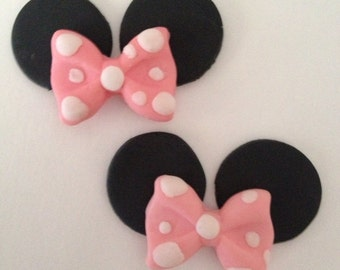 Fondant Mouse ears with bow cupcake toppers minnie