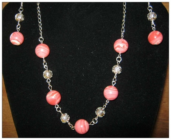 Handmade Silver Jewelry Set with Rhodonite by IreneDesign2011