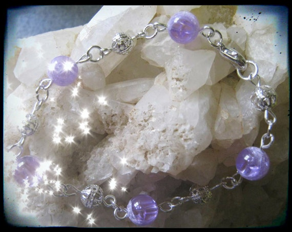 Handmade Silver Bracelet with Crackled Amethyst by IreneDesign2011