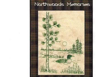 Northwoods Memories Loon - Redwork Hand Embroidery Pattern by Beth Ritter - Instant Digital Download