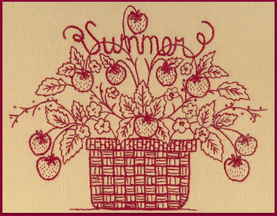 Redwork summer redwork hand embroidery pattern by for Wellington house designs