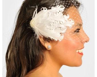 Madeline- Bandeau Birdcage Veil, Birdcage Veil, Bridal Veil, Short Wedding Veil, Veil with Feathers, Free Shipping