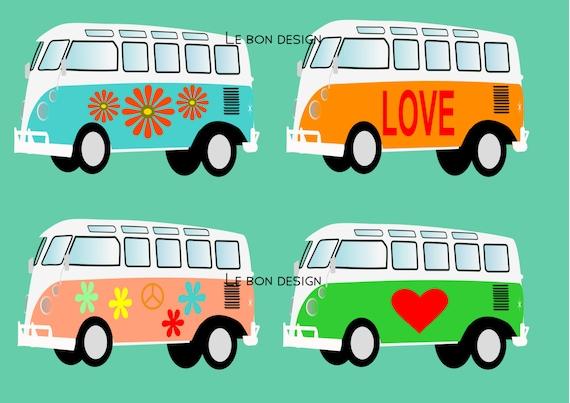 Volkswagen t1 hippy camper clip art vector graphic design