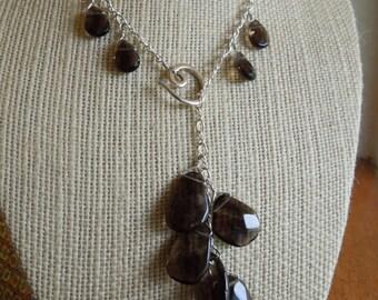 smoky quartz  360 reversable necklace
