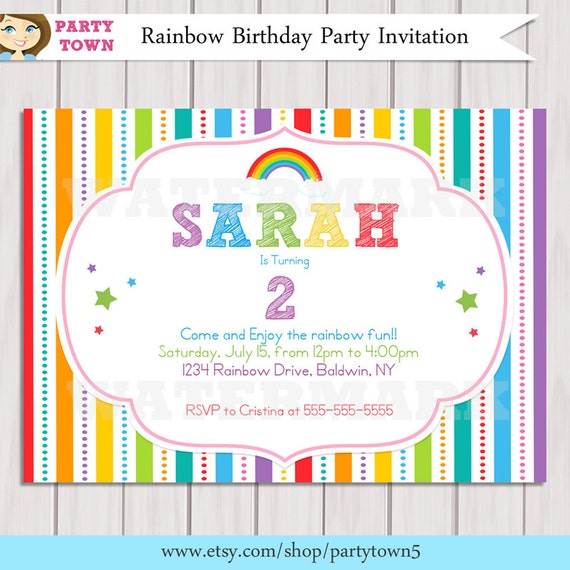rainbow invitation  rainbow birthday invitation  printable diy, party invitations