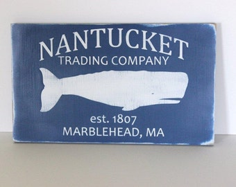 Beach sign, Nantucket sign, Nantucket trading company, beach decor, distressed wood sign, coastal decor, beach house