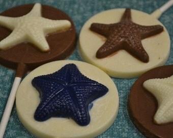Starfish Chocolate Lollipops - Beach Wedding -  Beach Party Favor -  Nautical Chocolate - Starfish Lollipop - Summer party - Summer dessert