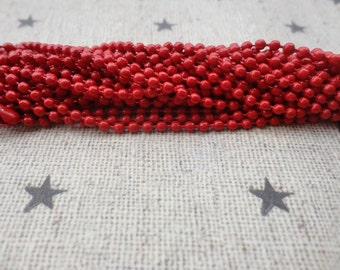 100pcs red Ball Chain Necklaces with connectors.. 27.5 inch Chain 2.0 mm wholesale--MN68