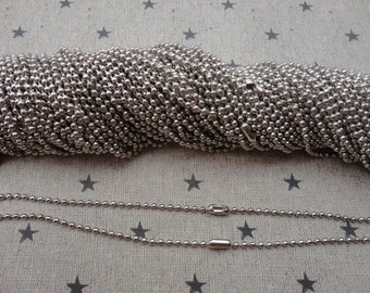 100pcs white K Ball Chain Necklaces with connectors.. 27.5 inch Chain 2.0 mm wholesale--MN67