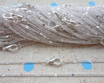 20PCS 40CM Silver Plated Metal Link Necklace Chain 1.0MM--MN31