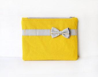 Yellow - Grey Bow Zipper Pouch