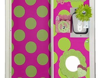 Bright Pink & Lime Green Polka Dot Locker Wallpaper