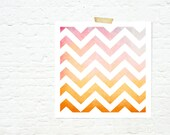 Geometric ombre chevrons print home decor nursery art autumn colours pink and orange - sunset chevrons