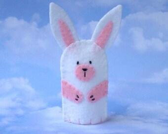 Finger Puppet White Bunny - Bunny Rabbit Finger Puppet - Felt Animal Puppet Bunny - White Bunny Puppet