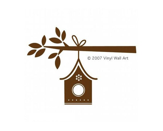 Vinyl Wall Art Birdhouse Wall Decal LARGE – Tree Branch with hanging Birdhouse, Home Décor, Nursery Decal, Office Décor,