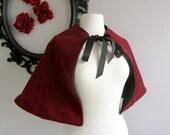 The Velveteen Capelet  Red Cape for women