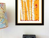 Autumn Cardinal Print Screenprint - Fall Leaves & Red Bird Birch Tree Art Print Silkscreen Wall Art Handmade