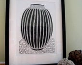 COLLOGRAPH PRINT - Scheurich Vase - Mid Century Modern Art - Black & White West German Vase 9x13 - Ready to Ship