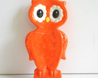 Owl Spoonrest, Ceramic Owl, Small Owl on Branch, Spoon Rest Holder, Small Owl Ring Tray, Owl Tea Bag Holder, Ceramic Bird, Orange Owl