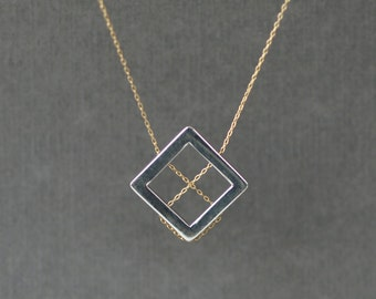 Square Lines Necklace, Mixed Metal Necklace, Statement Necklace, Geometric Design, Modern Geometry, Sterling Silver ,14k Gold Filled