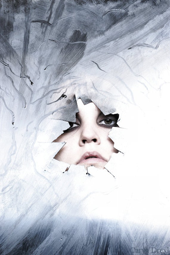 In The Trees Amongst The Birds - FREE SHIPPING Surreal Photo Print Blue White Face Broken Plastic Silver Eyes Dark Light Dark Art Portrait
