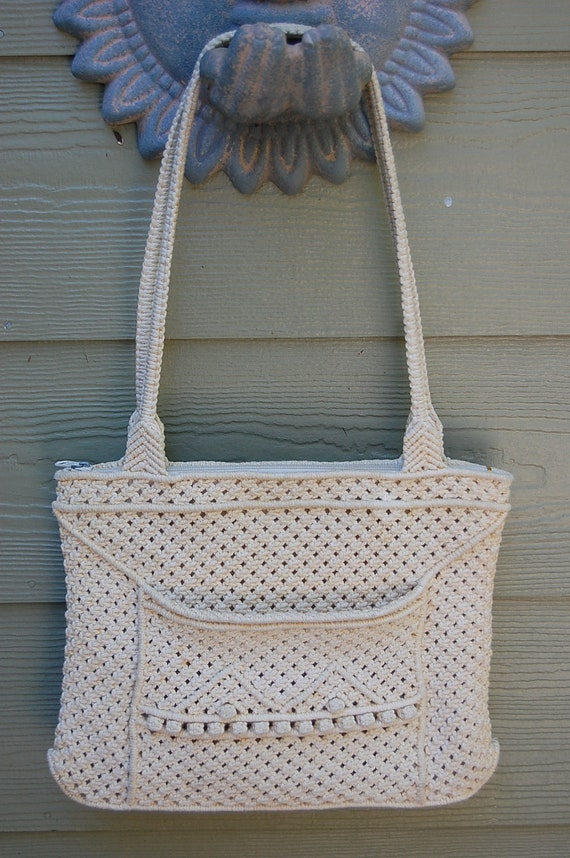 Vintage Beige Crochet Mid 70s Purse Bag Tote Made in Peoples Republic ...