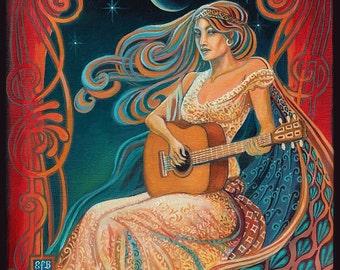Gypsy Moon 8x10 Fine Art Print Art Nouveau Psychedelic Music Goddess Art
