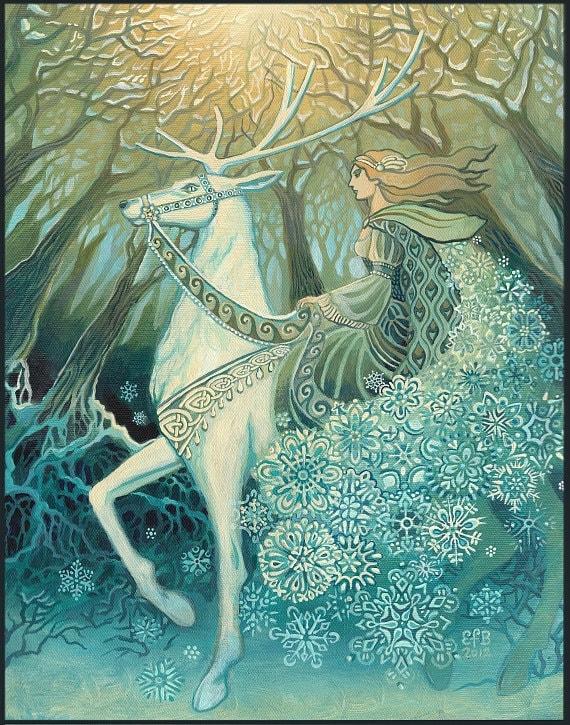 Snow Queen Yule Winter Solstice Goddess Art 8x10 Print