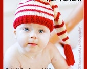 Knit Baby Hat Pattern Tutorial - Stocking Cap Pixie Elf Christmas Hannukah Hat - Instant Download
