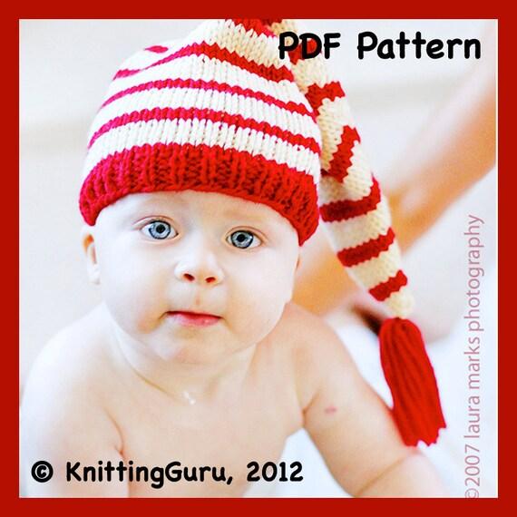 Knit Baby Hat Pattern Tutorial Stocking Cap Pixie Elf