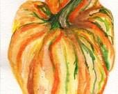 Pumpkin watercolors painting  original 5 x 7 painting, small original watercolor painting, Thanksgiving decor, kitchen decor, watercolor art