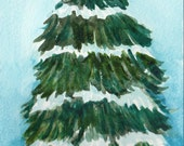 Christmas Tree watercolor painting, dusted with snow,  4 x 6, Original painting Watercolor,  Small Original Painting