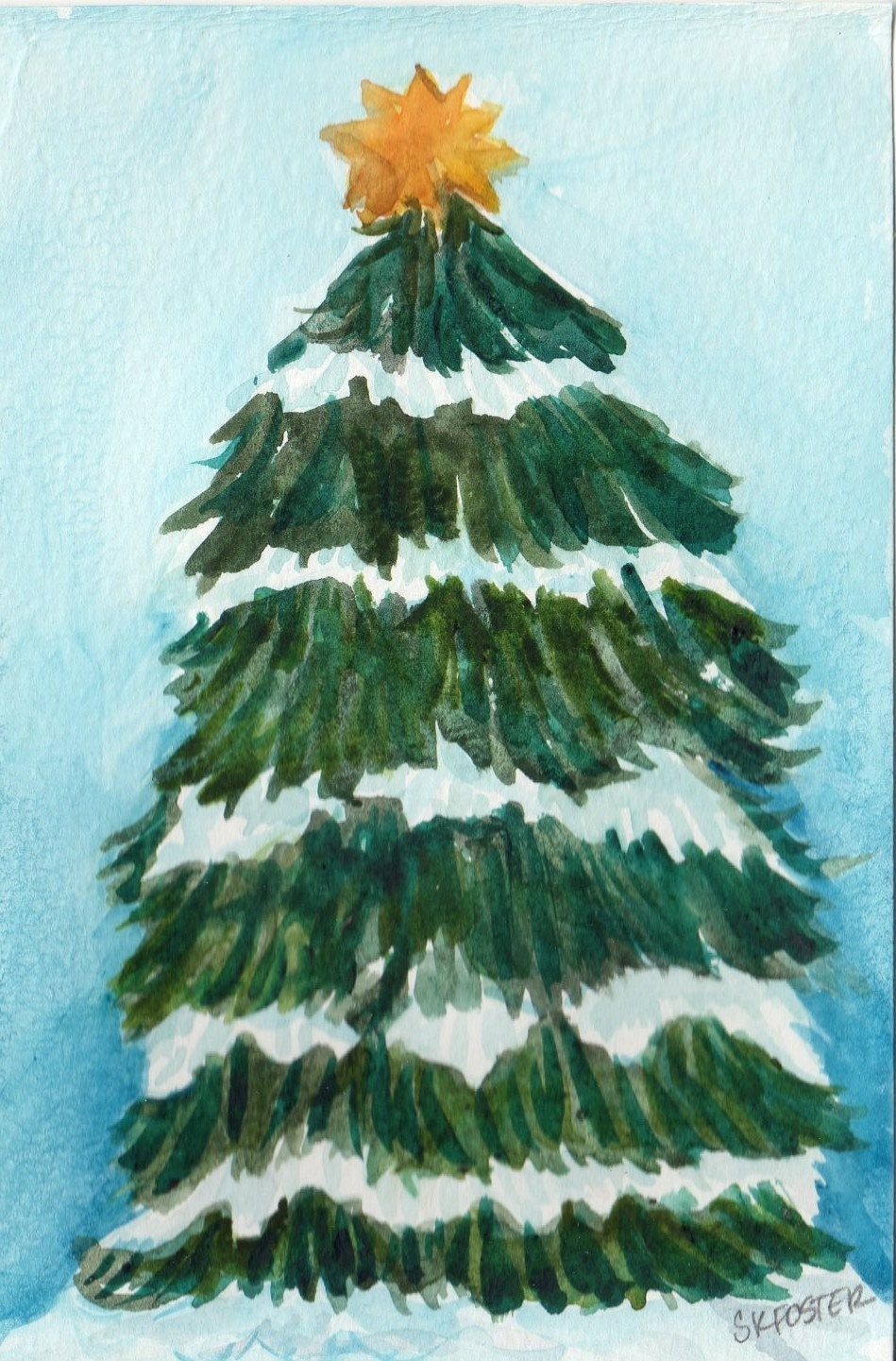 Christmas tree watercolor painting dusted with by