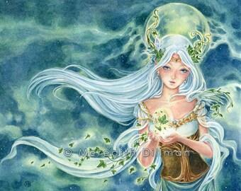 Ivy Goddess painting, fantasy art,  fairy print - 5x7