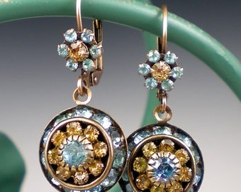 Aqua Brown Rhinestone Earrings Aqua Topaz Rhinestone Drop Earrings