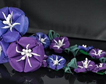 Purple Morning Glories. Silk Asagao Kanzashi. Winding Glory. Made to order. Customizable.