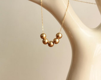 gold bead necklace 14kt gold filled for valentines day gift