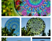 CANDY COLORED Mandala Window Decal - Psychedelic Geometric Art - Choose Your Design from Candy Collection