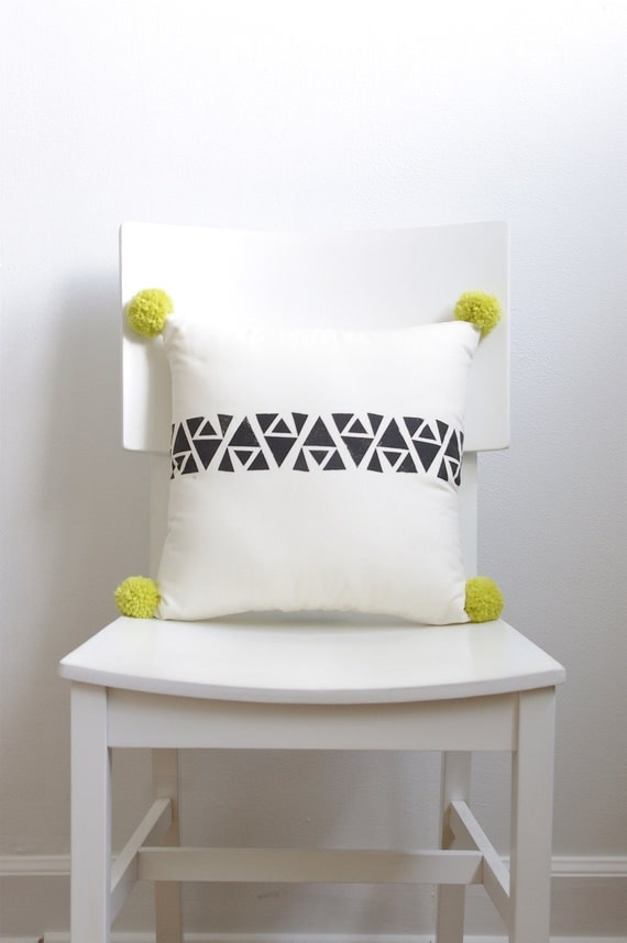 Hand Printed Geometric Pom Pom Decorative Pillow - The Frida Collection - Black, Cream and Bright Yellow