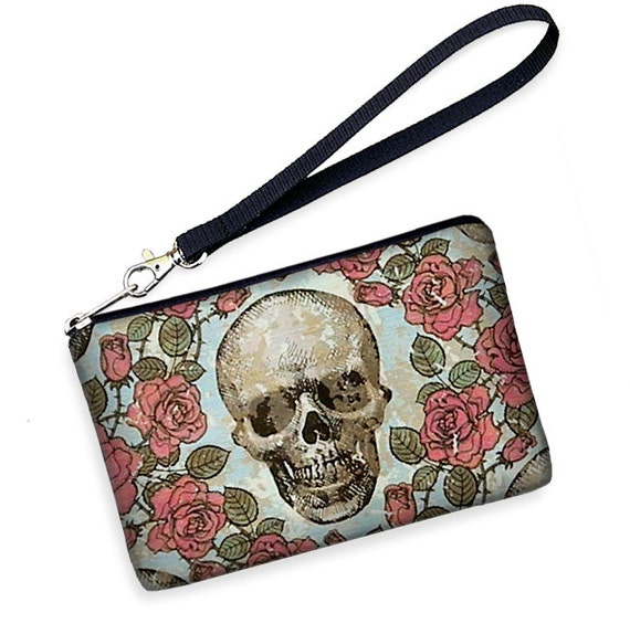 LAST ONE - iPhone 5 Case Cell Phone Wristlet  iPhone Case Smartphone Droid Cell Phone Case Samsung Galaxy S2 Skulls Roses fabric (RTS)